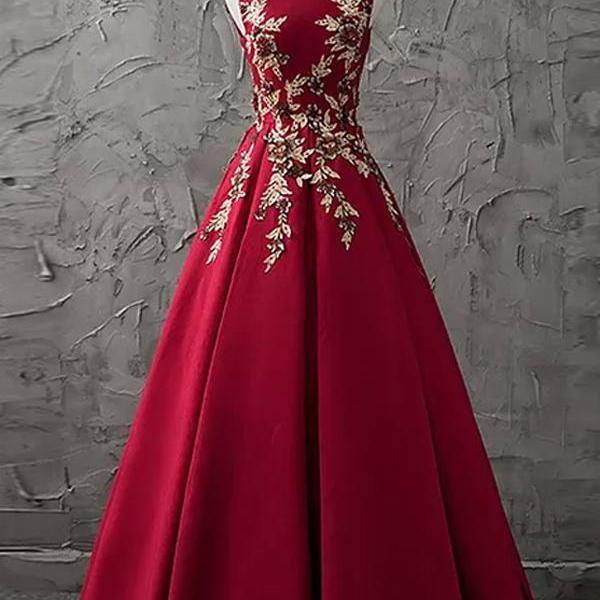 A-line Bateau Floor-length Sleeveless Satin Prom Dress/Evening Dress,PL08129