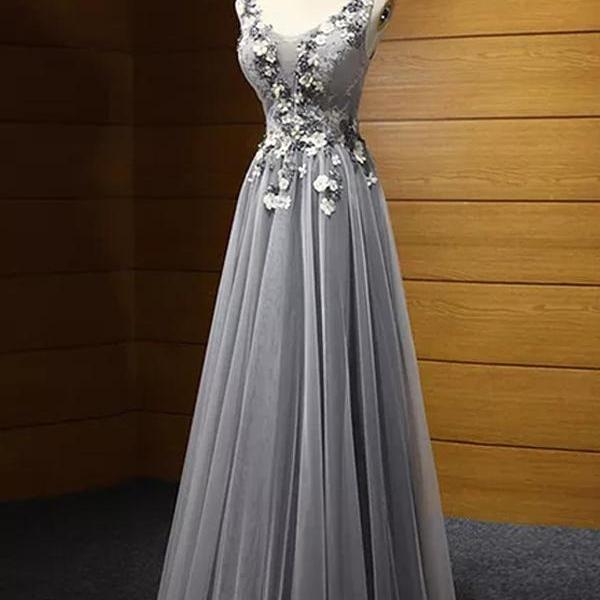 A-line Scoop Floor-length Sleeveless Tulle Prom Dress/Evening Dress,PL0830