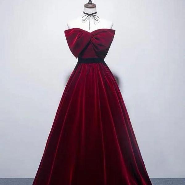 A sexy wine red strapless dress.Wine red bow bow waist collection party dress.A formal party dress,PL0887