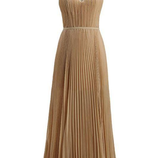 Simple Chiffon ,Deep V-neck, Long Wedding Dresses,Champagne party dresses,PL0988