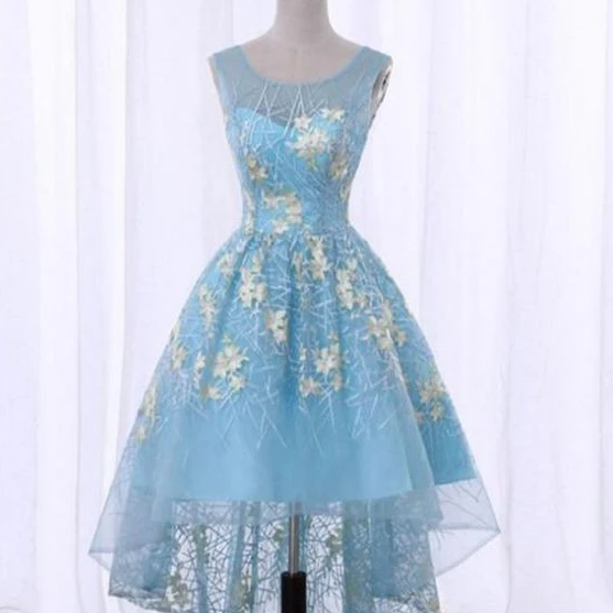 Spring blue lace scoop neck high low homecoming dress with appliques,PL1888