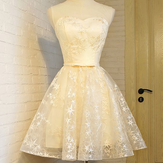champagne short party dress, homecoming dress, fashion girl dress ,PL1889