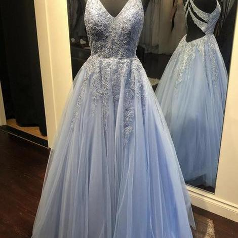 Blue v neck tulle lace long prom dress evening dress,PL2657