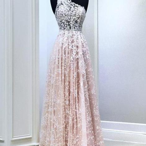 Pink lace long prom dress one shoulder evening dress,PL2658