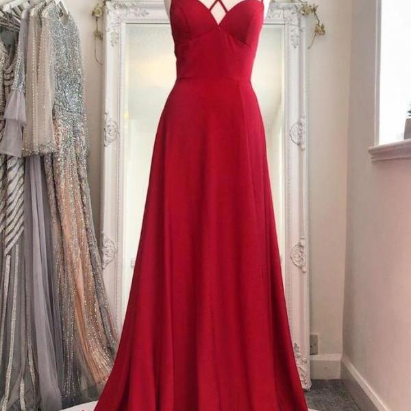 Sexy Spaghetti Straps A-Line Prom Dresses,Long Prom Dresses,Cheap Prom Dresses, Evening Dress Prom Gowns, Formal Women Dress Prom Dress,PL2858