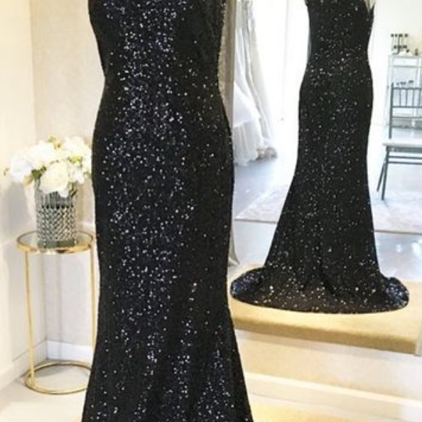 Gorgeous Sparkly Sequins Prom Dress, Black Bridesmaid Dress, Glitter Evening Gowns,PL3009
