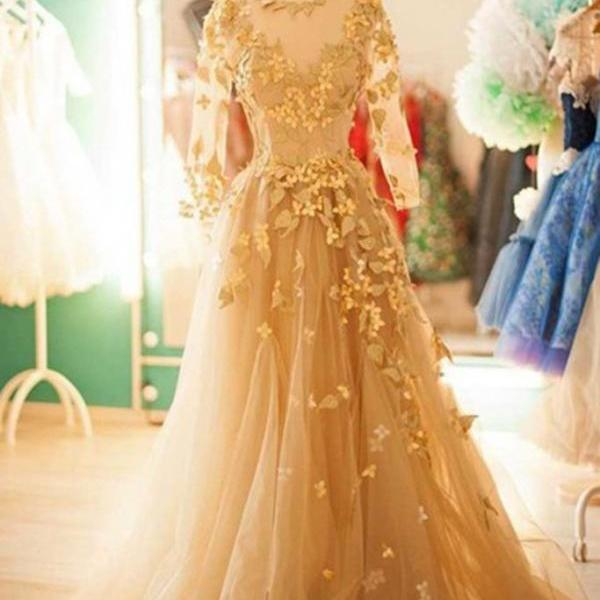 Champagne tulle round neck Formal Dress,long sleeves applique handmade long dresses,PL3010