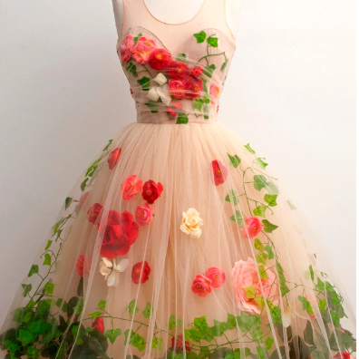 Beautiful Rose Flower Champagne Cocktail Dress.PL3587
