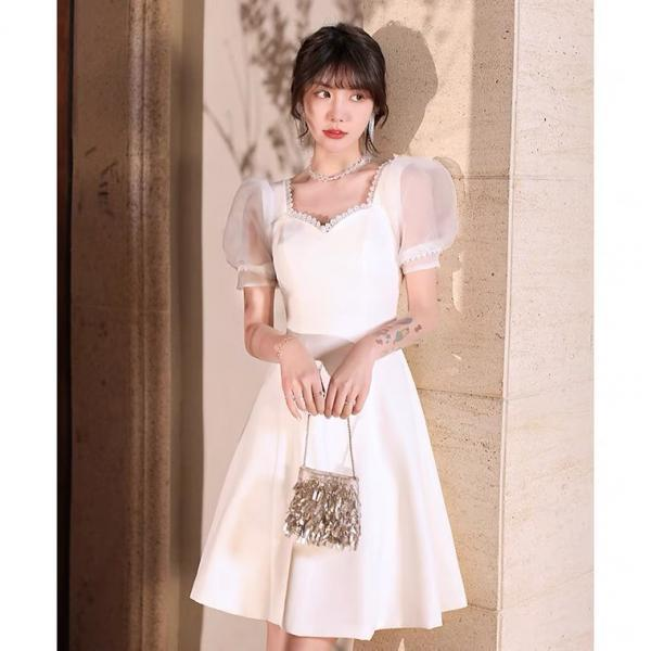 White Evening Dress, New Style, Sweet Graduation Dress, Bubble Sleeves Midi Dress,custom made,PL3608