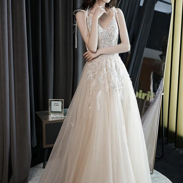 Champagne v neck tulle beads long prom dress evening dress,PL3717