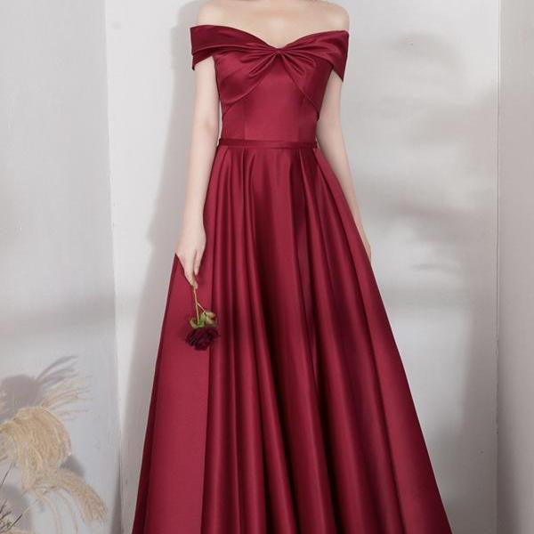 Burgundy satin long A line prom dress evening dress,PL3718