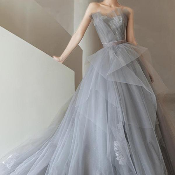 Gray tulle lace long ball gown dress formal dress,PL3720