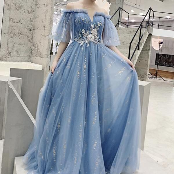 Blue tulle sequins long prom dress evening dress,PL3819