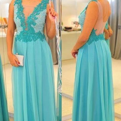 Long Prom Dresses,Appliques Prom Dress,Chiffon Evening Dresses,Blue Evening Dresses,Long Evening Dresses,Long Chiffon Prom Dress,Chiffon Prom Dresses,See Through Back Prom Dress,A-line Prom Dresses