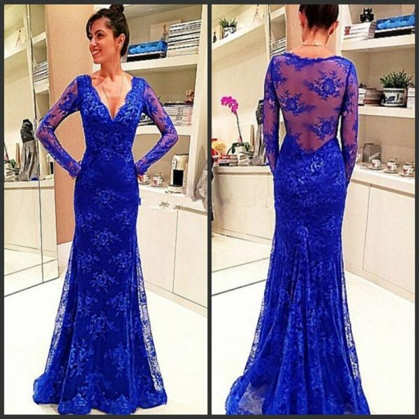 Mermaid Sexy Deep V-neckline Lace Prom Dress,Long Sleeves Lace Graduation Dress,Illusion Lace Evening Party Dress