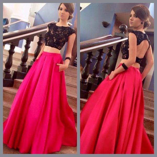 Sexy Two Piece Prom Dress,Red and Black Keyhole Back Graduation Dress,Black Lace Party Dress,Fashion Two Piece Evening Dress