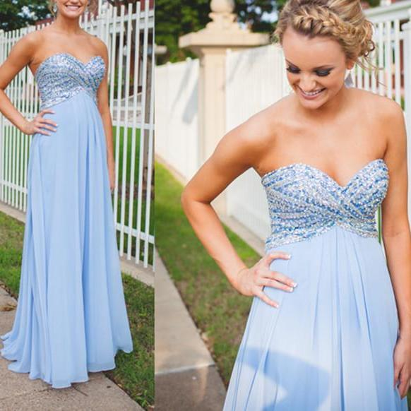 Elegant Sweetheart Beaded Empire Prom Dress,Blue Occasion Dress,Evening Party Dress