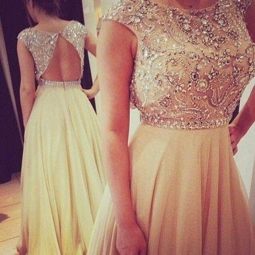 Floor Length Sexy Open Back Beaded Prom Dress Occasion Party Dress