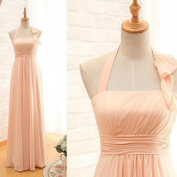 Floor Length Halter Blush Bridesmaid Dress