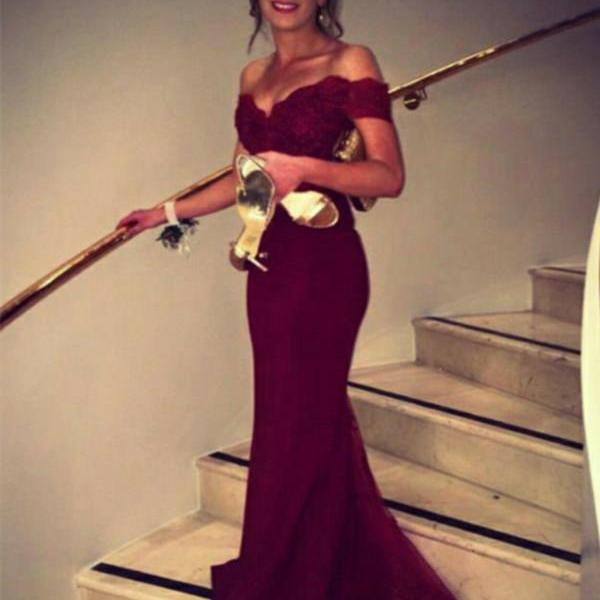 Mermaid Off Shoulder Burgundy Lace Prom Dresses,Sexy Occasion Dresses,Mermaid Evening Party Dresses,Elegant Graduation Dresses
