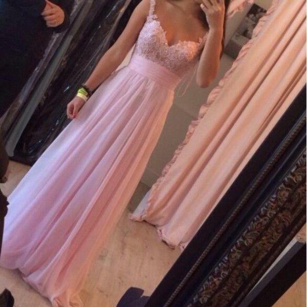 Elegant Lace Straps Pink Prom Dress,Lace Occasion Dress,Evening Party Dress