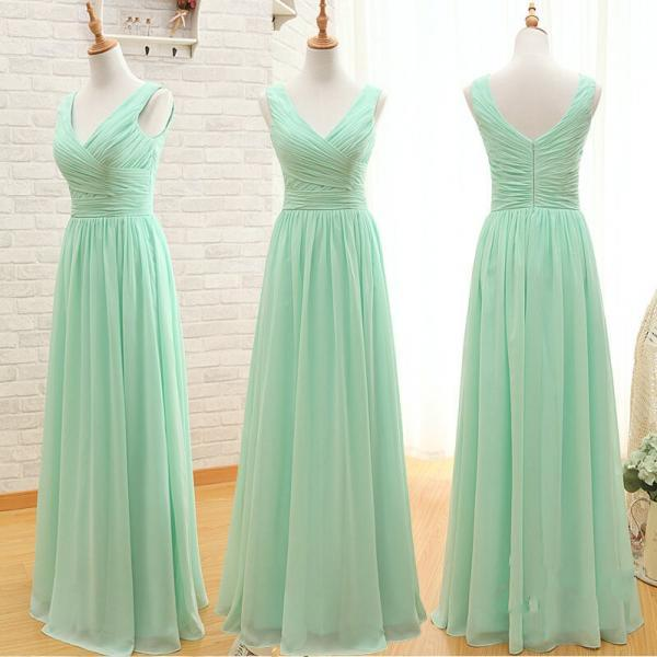 Discount V-neckline Mint Green Bridesmaid Dress,Floor length Occasion Dress