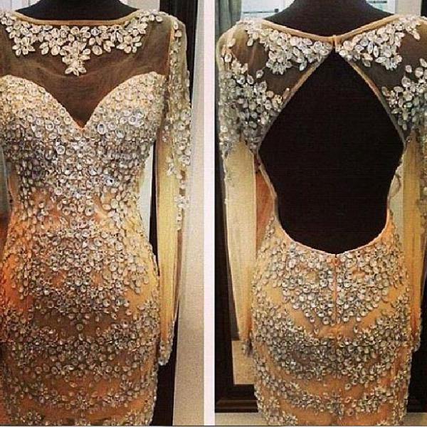 Prom Dresses Sexy Cheap Mermaid Champagne Sheer Neck Beads Backless Prom Dress Formal Dress Evening Dress Party Prom Gowns