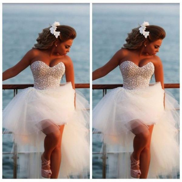 Vestido De Noiva Beach White Ivory sweetheart wedding gowns Robe De Mariage pearls wedding dress short front long back