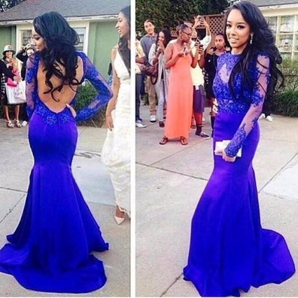 Abendkleider Women Formal Dresses Sexy Evening Gown Long Sleeves Lace Mermaid Royal Blue Evening Dresses Open Back Prom Gowns