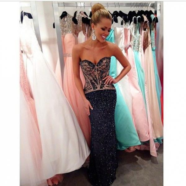 2016 Evening Dresses New Arrival Cheap Sexy Mermaid Dark Navy Sequins Lace Beads Long Formal Long Prom Party Gowns Gown