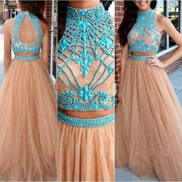 A line prom dress, tulle prom dress, 2 pieces prom dress, modest prom dresses, High Neck prom dress
