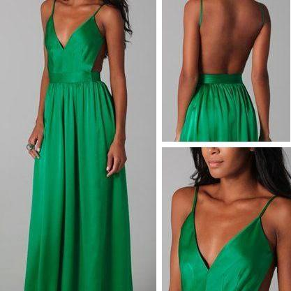 Elegant, Green, handmade, A-line, long, graduation dress, Backless prom dress, With Straps