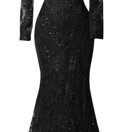 Sexy Black Prom Dresses,2016 Custom Long Sleeves Prom Dress,Charming Beading Evening dress,Lace Mermaid Prom Dress