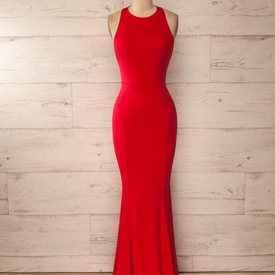 Red Mermaid Prom Dress,Sexy Sleeveless Prom Dress,Long Satin Evening Dress,2016 Custom