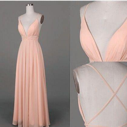 Spaghetti Straps Charming Prom Dresses,Long Evening Dresses,V-Neck Prom Dresses On Sale