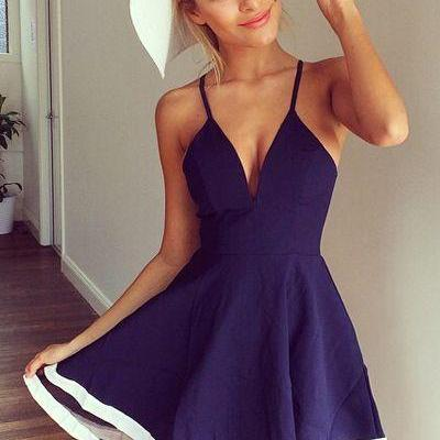 Cheap V Neck Homecoming dress, Spaghetti Strap Sleeveless Casual dress, Organza Patchwork Blue A Line Mini Dress