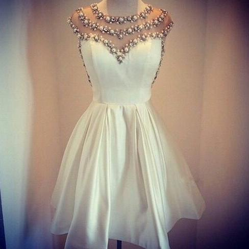 Homecoming Dress, Beaded Homecoming Dress, Sheer Homecoming Dress, 2016 Homecoming Dress, White Miniskirt Homecoming Dress, Pearls Cocktail Dress, Hot Sale Homecoming Dress, Custom Made Homecoming Dress