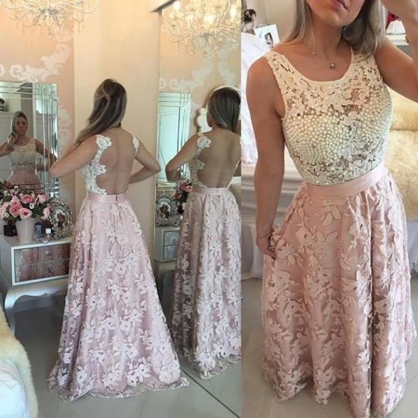Prom Dress, 2016 Prom Dress, Black and White Lace Prom Dress, Pearls Prom Dress, Sleeveless Prom Dress, Stitching Prom Dress, Hot Sale Prom Dress, High Quality Prom Dress, Custom Made Prom Dress