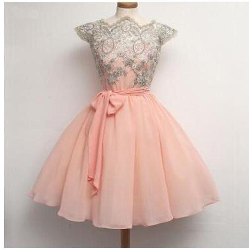 Short Classic Cute Prom/Homecoming Dress,A-Line Chiffon Prom Dress With Appliques,Cheap Homecoming Dress