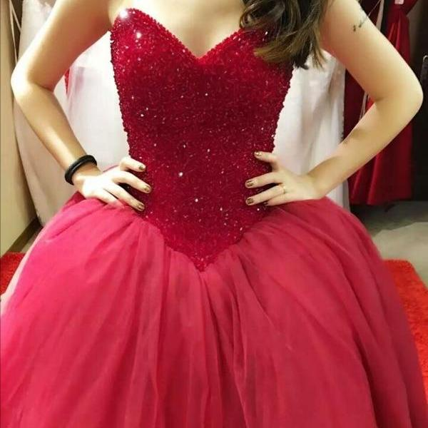 New Arrival Ball Gown Prom Dress,Elegant Sweetheart Red Tulle Prom Dress,Tulle Prom Gown Evening Dress,Long Prom Dresses with Beaded