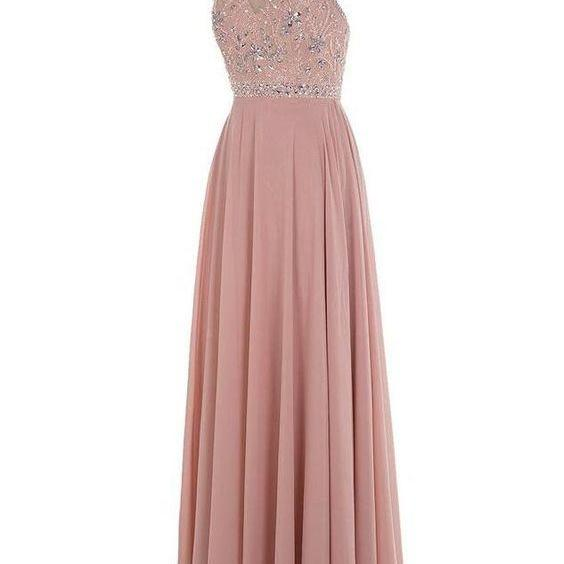 2016 Custom Charming Pink Beading Prom Dress,Halter Sleeveless Evening Dress