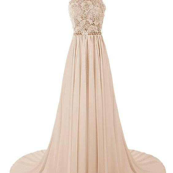 2016 Custom Charming Chiffon Prom Dress,Sexy Halter Applique Evening Dress