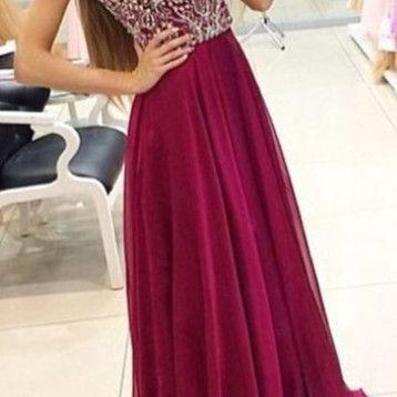 Cute burgundy chiffon prom dress with beautiful top details, long modest prom dress for teens, homecoming dress 2016