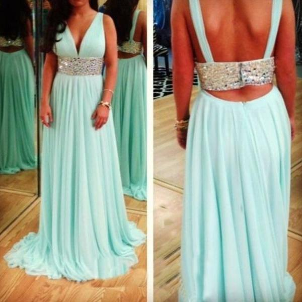 2017 Custom Made Charming Prom Dress,Two Pieces Prom Dress,A-Line Prom Dress,Chiffon Prom Dress,Beading Evening Dress