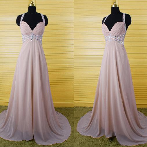 2017 Custom Made High Quality Prom Dress,A-Line Prom Dress,Chiffon Prom Dress,V-Neck Prom Dress, Charming Prom Dress