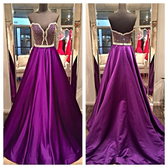 2017 Custom Made Charming Purple Prom Dress, Sexy Sweetheart Evening Dress, Sleeveless Beading Prom Dress