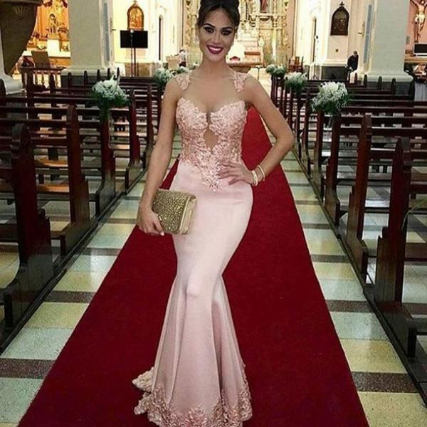 2017 Custom Made Charming Pink Appliques Prom Dress, Sexy Mermaid Lace Evening Dress, Sleeveless Beading Prom Dress