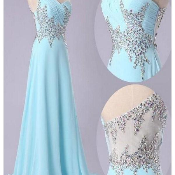 2017 Custom Made Light Blue Prom Dress,Sexy One Shoulder Evening Dress,Sleeveless Party Gown,Beaing Prom Dress,High Quality
