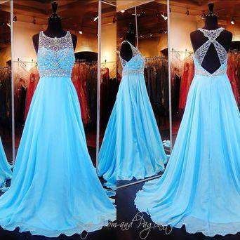 2017 Custom Made Blue Chiffon Prom Dress,Beading Evening Dress,Sleeveless Party Gown,Sexy Open Back Pegeant Dress, High Quality