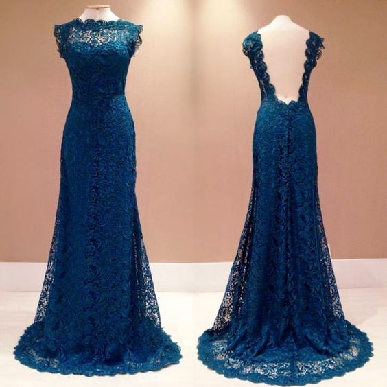2017 Custom Made Dark Blue Prom Dress, Lace Evening Dress,Sexy Open Back Party Gown,Sleeveless Pegeant Dress, High Quality